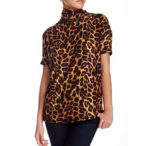 Bobeau Leopard Mock Neck Short Sleeve Dolman Top